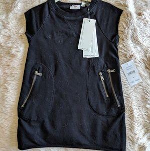 Nwt AG black Moto style cotton dress
